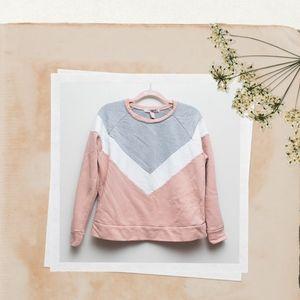 Blush Pink & Grey Chevron Sweatshirt